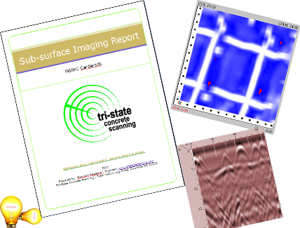 Scanning reports, 3D imaging, GPR images